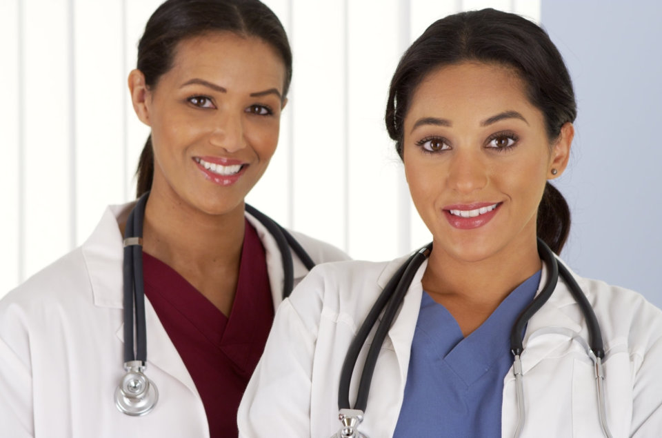medical doctors looking at camera