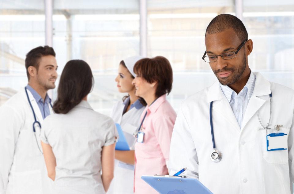 multiracial healthstaffs talking